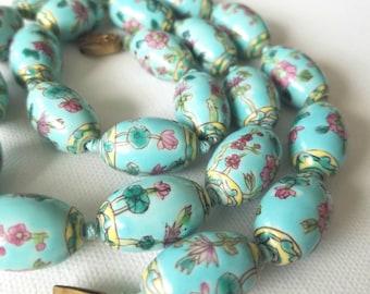 Beautiful aqua floral beaded necklace
