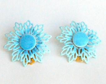 Light Blue Lacy Flower clip on Earrings