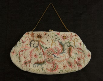 SALE WAS 275 French White Bead and Chain Stitch Clutch dur