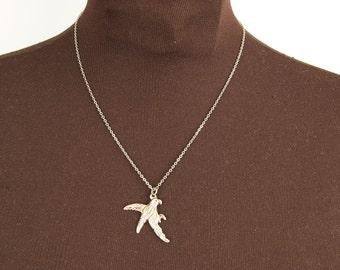 Delicate Silver Bird Pendant