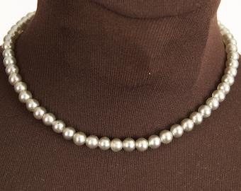 Vintage Gray Glass Pearl Choker