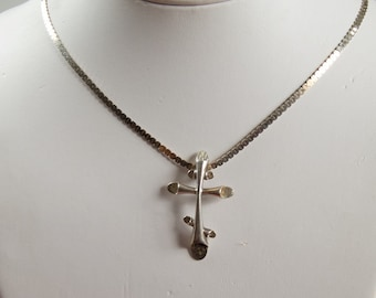 Artisan Sterling Cross on Sterling Silver Chain