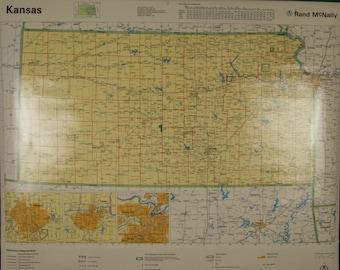 SALE WAS 45 Vintage Rand McNally Kansas Classroom Wall Map