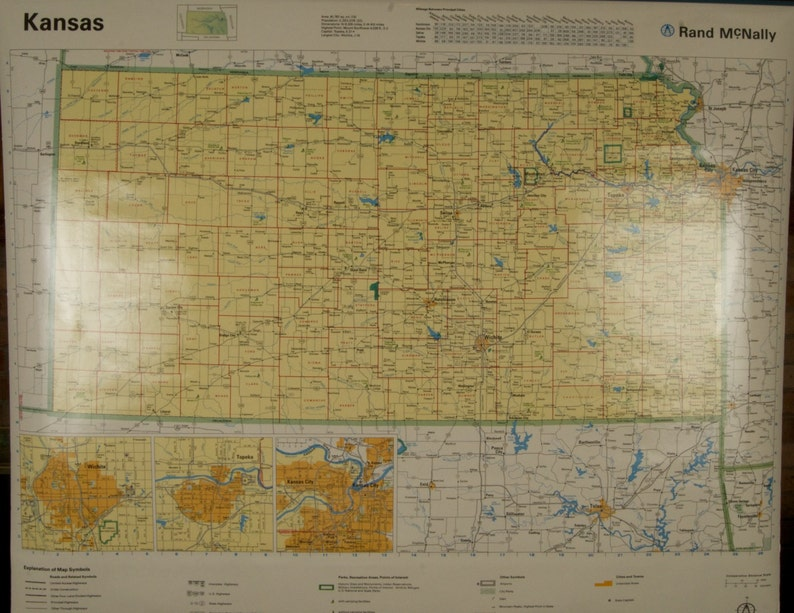 SALE WAS 45 Vintage Rand McNally Kansas Clroom Wall Map Kansas State Map By Rand Mcnally on map of all georgia cities, map of colorado and nebraska borders, map of indiana area, map tilden nebraska, map of montana, map of eastern wyoming,