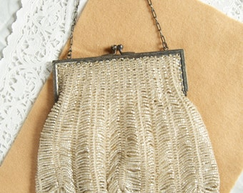 Stunning Beaded Purse with Filagree Metal Frame