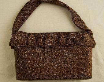Fancy Stuffing Ruffled Top Beaded Bag in Copper dur