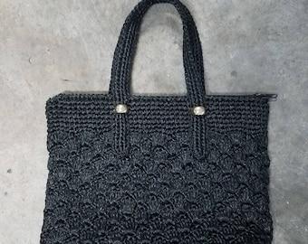Beautiful black raffia handbag with zipper enclosure