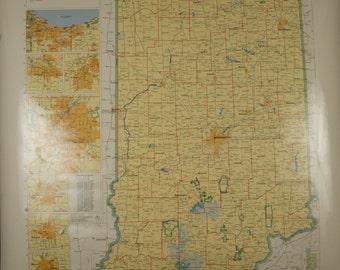 SALE WAS 45 Vintage Rand McNally Indiana Classroom Wall Map