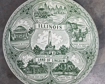 Illinois Land of Lincoln Souvenir Plate