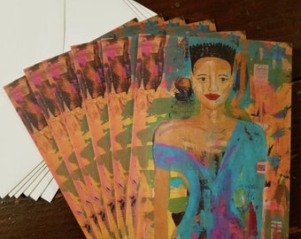 Magnificent Ana - detail - package of 6 blank greeting cards by Theresa Wells Stifel