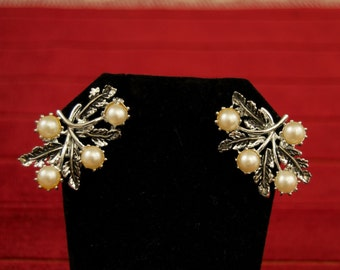 Vintage Clip Pearl and Enamel Earrings