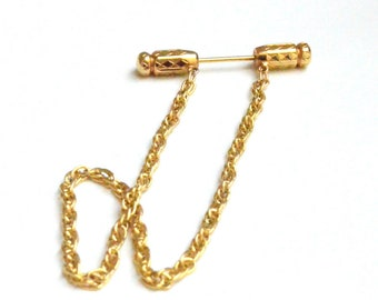 Golden Tie Bar with Chain