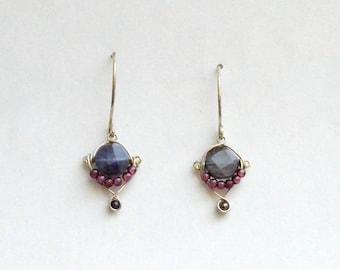 Dainty Stone Bead Hook Earrings