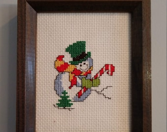 Sassy Snowman Counted Cross Stitch, Christmas, Holiday