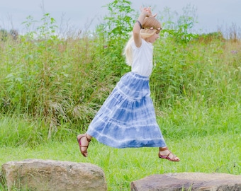 Girls Maxi skirt - Boho maxi skirt - Toddler Maxi skirt - long skirt - tie dye skirt - blue skirt- Bohemian skirt - blue skirt - maxi