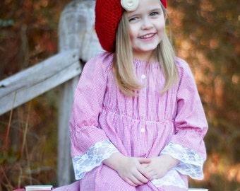 Girls peasant dress - girls dresses - boho dress - boho dress baby - red dress - bohemian dress - red gingham dress - tunic dress