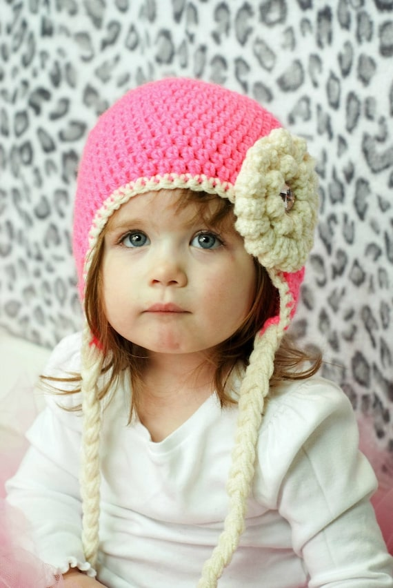 5429d5c0e Girls crochet hat ear flap hat Toddler hat Infant hat