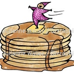 People with Food: Pancakes with syrup and butter digital printable clipart
