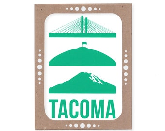 Set of Six Tacoma Icon Cards -- Featuring the Tacoma Dome and Mount Rainier
