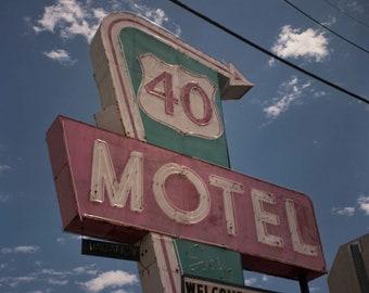 Analog Photography, Film, Vintage Camera, Vintage Motel Sign, Columbus Ohio, Color Film, 5x5