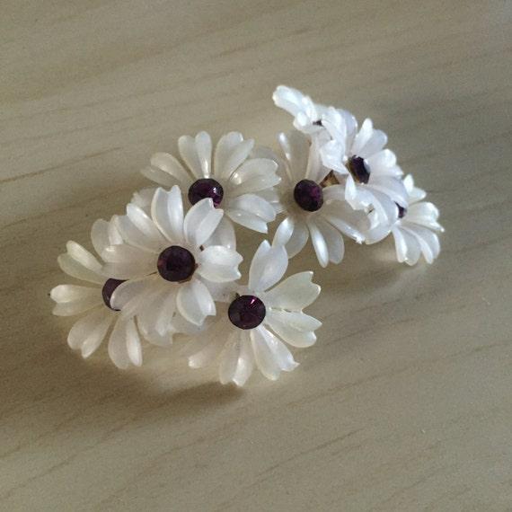 Plastic rings flower with glitter stones 80s small pastel colored vintage rings,gift for her,boho,avantgarde plastic ring flower