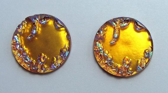 2 Vintage Czech Glass Cabochons 22 mm Round