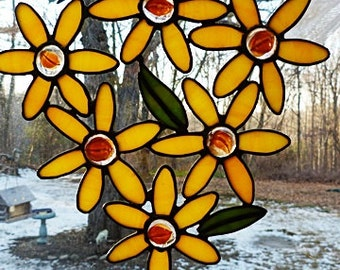 Stained Glass, Suncatcher, Yellow Daisy, Flower Cluster, Kitchen Window Decor