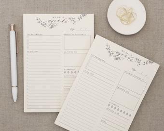 Daily Agenda // Daily Planner, Gratitude Planner, Inspiration Notepad, Wellness Planner, Self Care, Task Organizer, Desk Organization