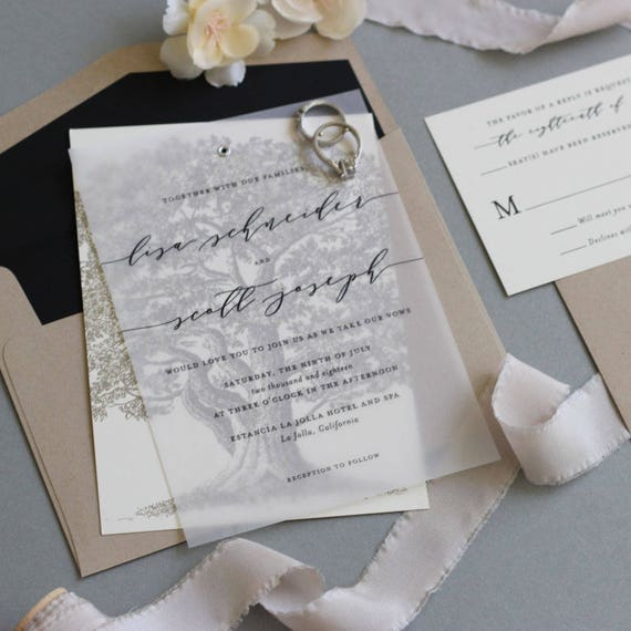 Tree Wedding Invitation Oak Tree Vellum Wedding Invitation Etsy