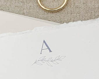 Handmade Paper, Minimal Branch, Monogram Note Card, Torn Edge Cards, Deckled Edge Paper, Stationery, 10 flat 4x6 cards with envelope