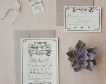 Tandem Bicycle Wedding Invitations, Wedding invitation Vintage, kraft and bakers twine wedding invitation - SAMPLE