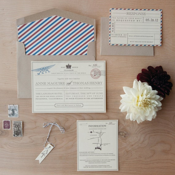 Vintage Travel Wedding Invitation Destination Wedding