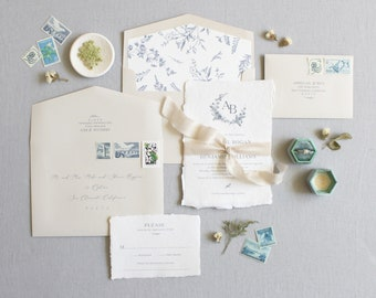 French Provence Invitation, French Toile, Wildflower Invitation, Handmade Paper, Floral Monogram, Deckled Edge, Torn Edge - SAMPLE
