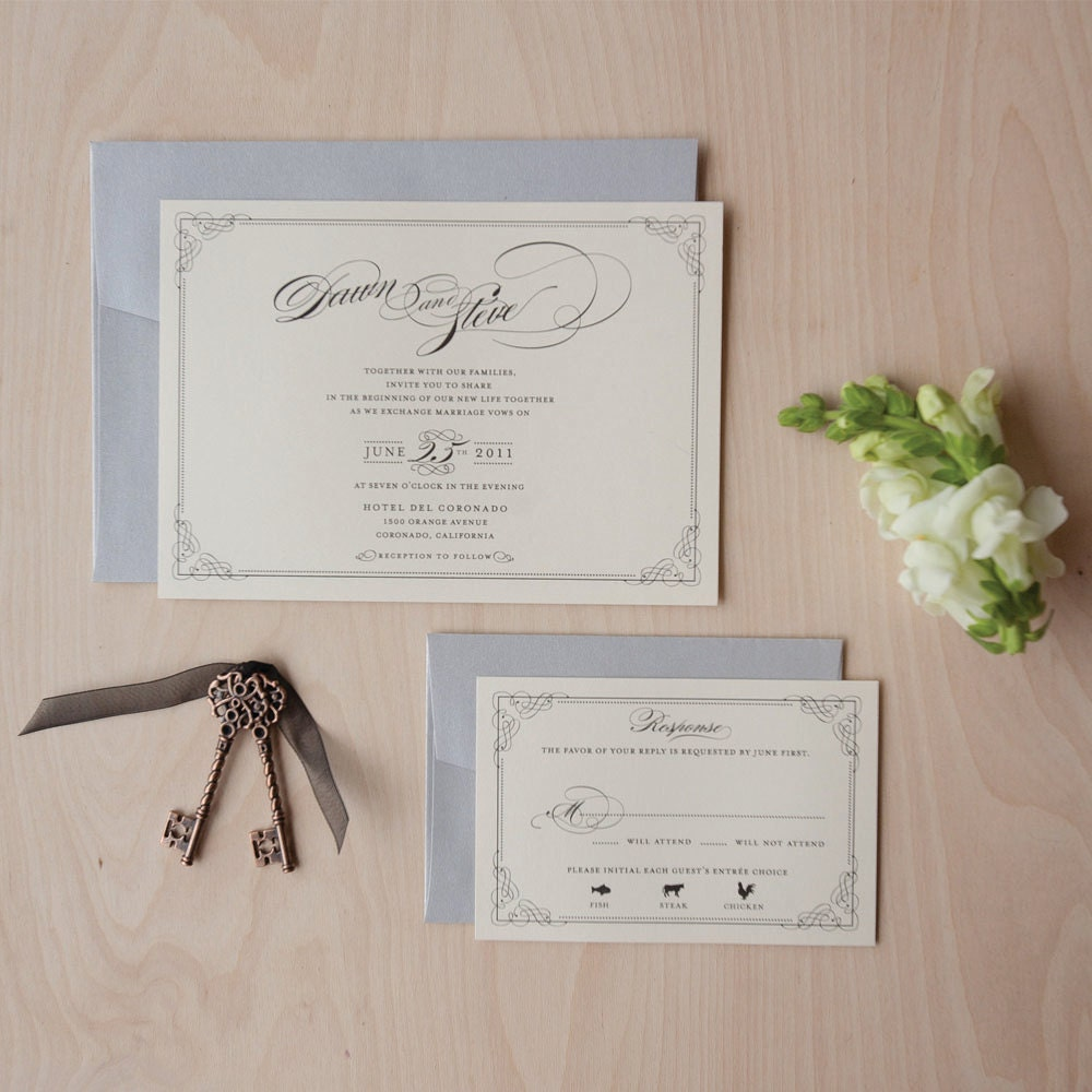 Vintage Glam Wedding Invitations: Elegant Wedding Invitation Vintage Hollywood Glam Printed