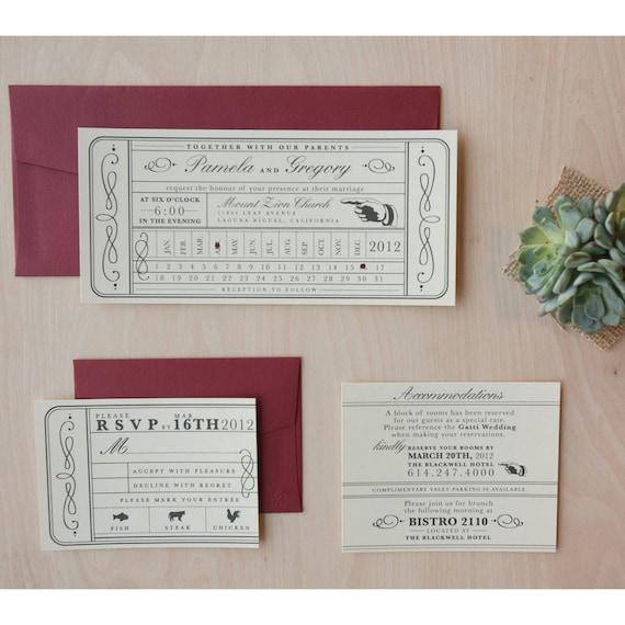 TICKET TICKET Invitation Vintage Invitation Cards for Wedding