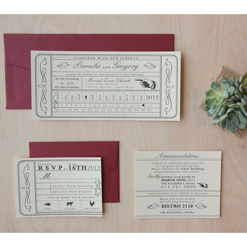 Vintage Ticket Wedding Invitation Punch Card Train Ticket Etsy