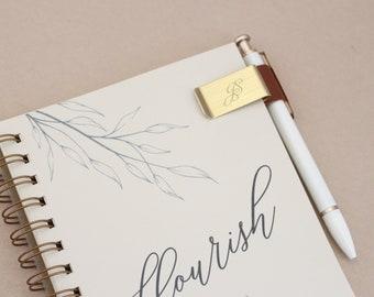 JS Pen Clip // Pen Holder, Notebook Pen Holder, Gold and leather pen holder, leather pen clip, metal pen clip