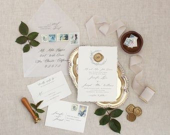 Wax Seal Invitation, Handmade Paper, Deckled Edge Invitation, Crest Invitation, Monogram Invitation, Vellum Envelopes - SAMPLE