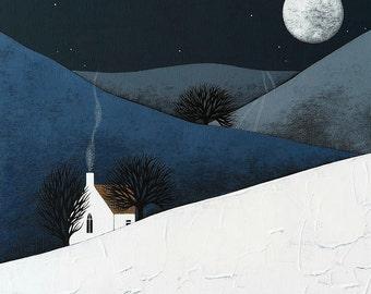 Moon Rise - Night Landscape Art Print - 8x10 Contemporary Winter Painting - by Natasha Newton