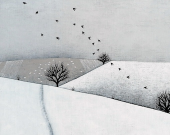 Snowy Landscape with Sheep and Birds - 8x8 Art Print - Winter Painting - by Natasha Newton