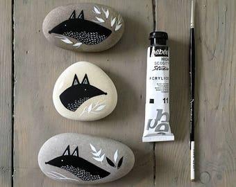 Foxes - Painted Stones - Illustrated Beach Pebble, Animal Rock Art - Available Individually - by Natasha Newton