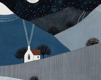 The Quiet of the Night 2 - 8x10 Contemporary Winter Landscape Art Print - by Natasha Newton