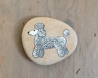Poodle - Black and White Painted Stone - Animal Illustration, Dog - Beach Pebble, Rock Art - by Natasha Newton