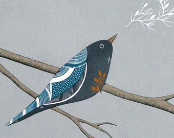 The Ghosts of Their Departed Leaves 4 - 8x10 Archival Art Print - Contemporary Bird Painting - by Natasha Newton