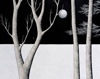 Midnight Walk - Archival 8x8 Art Print - Contemporary Landscape Painting - Night Forest - by Natasha Newton