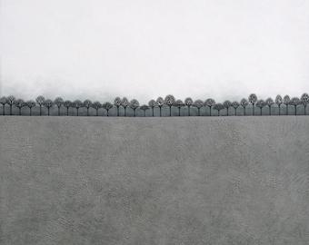 Intermission 2 - Archival 8x8 Art Print - Contemporary Painting - Minimalist Winter Landscape - by Natasha Newton