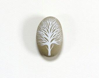 Bare Tree 3 - Painted Stone, Beach Pebble - Modern, Minimalist Nature Art - by Natasha Newton