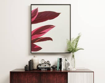 Plant Print, Minimal Botanical Art, Gift for Gardener, Kitchen Wall Art - Red Leaves I