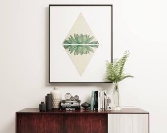 Succulent Print, Geometric Wall Art, Modern and Minimalist Art  - Echeveria II