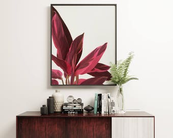 Leaf Print, Minimal Botanical Art, Gift for Gardener, Kitchen Wall Art - Red Leaves II